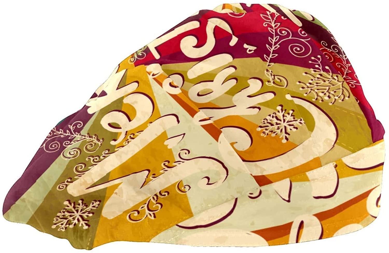 Extra Large Satin Sleep Bonnet Cap for Women & Girls, Wide Band Satin Bonnet Sleeping Night Cap & Hat for Natural Hair, Long Braids Merry Christmas Colorful