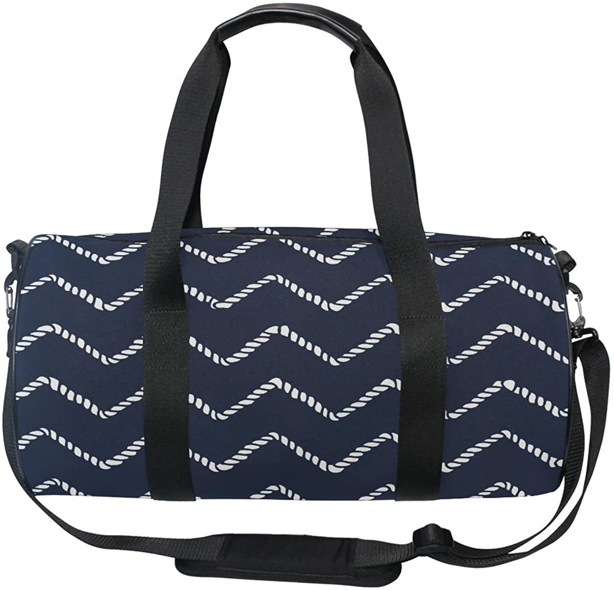 ALAZA Navy Marine Rope Chevron Sports Gym Duffel Bag Travel Luggage Handbag for Men Women