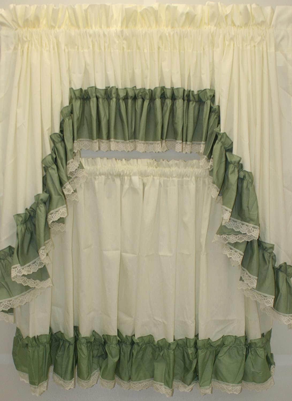 The_Curtain_Shop Martha Extra Full Ruffled 82Wx38L Swag Pair- Sage