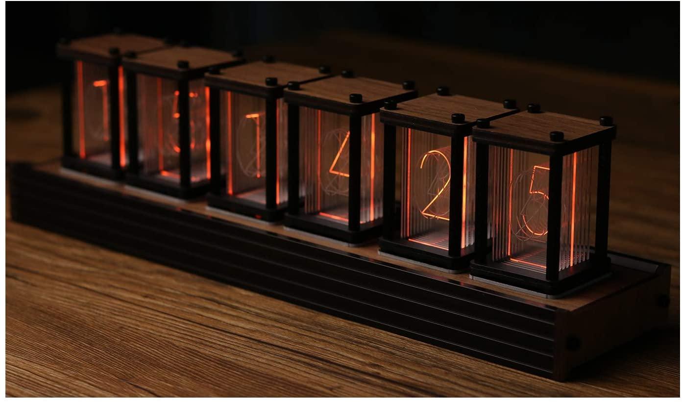 Nixie Tube Clock Creative Digital Variable RGB Color Clock LED Digital Clock Vintage Digital Alarm Clock,Boyfriend Birthday Christmas New Year, (Retro Wood Grain)