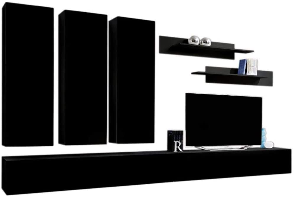 MEBLE FURNITURE & RUGS Wall Mounted Floating Modern Entertainment Center Fly E (Black, E1)