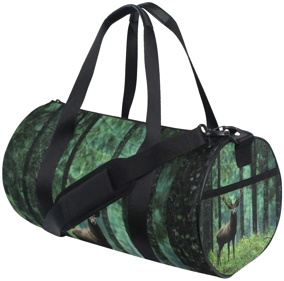 Travel Gym Sports Bag Dance Travel Weekender Duffel Bag Luggage Bag with Shoe Compartment,Deer