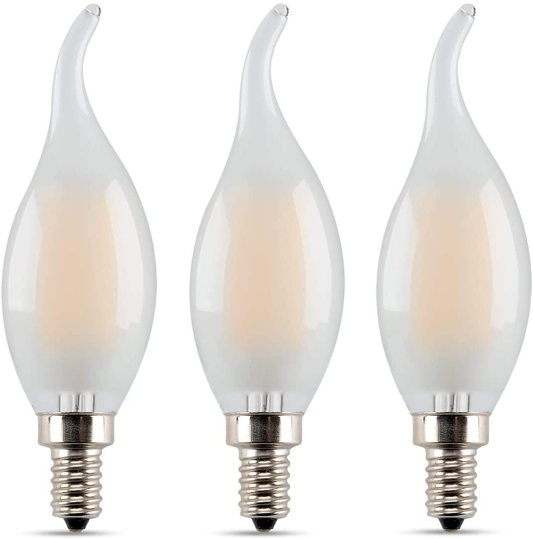 Candelabra LED Filament Frosted LED Bulbs, Panledo 6 Watt Vintage Edison Style Light Bulbs, 60 Watt Equivalent, Classic C35/CA10 Flame Tip, E12 Base, Soft White 2700K, Pack of 3