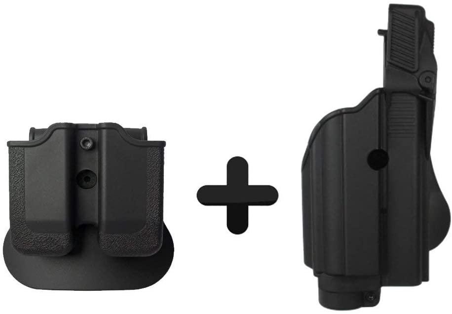 IMI-Defense Z1600 Paddle Light/Laser Roto Holster + Double Magazine Pouch for Glock 17/19/22/23/25/31/32 Handgun Gen 4 Pistol Compatible