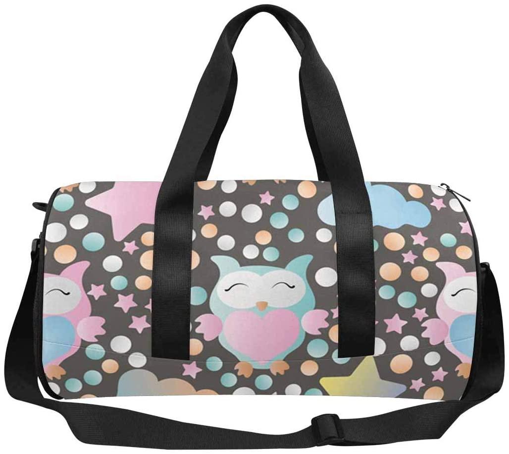 INTERESTPRINT Galaxy Owl Star Travel Bag Water-Resistant Duffle Bag