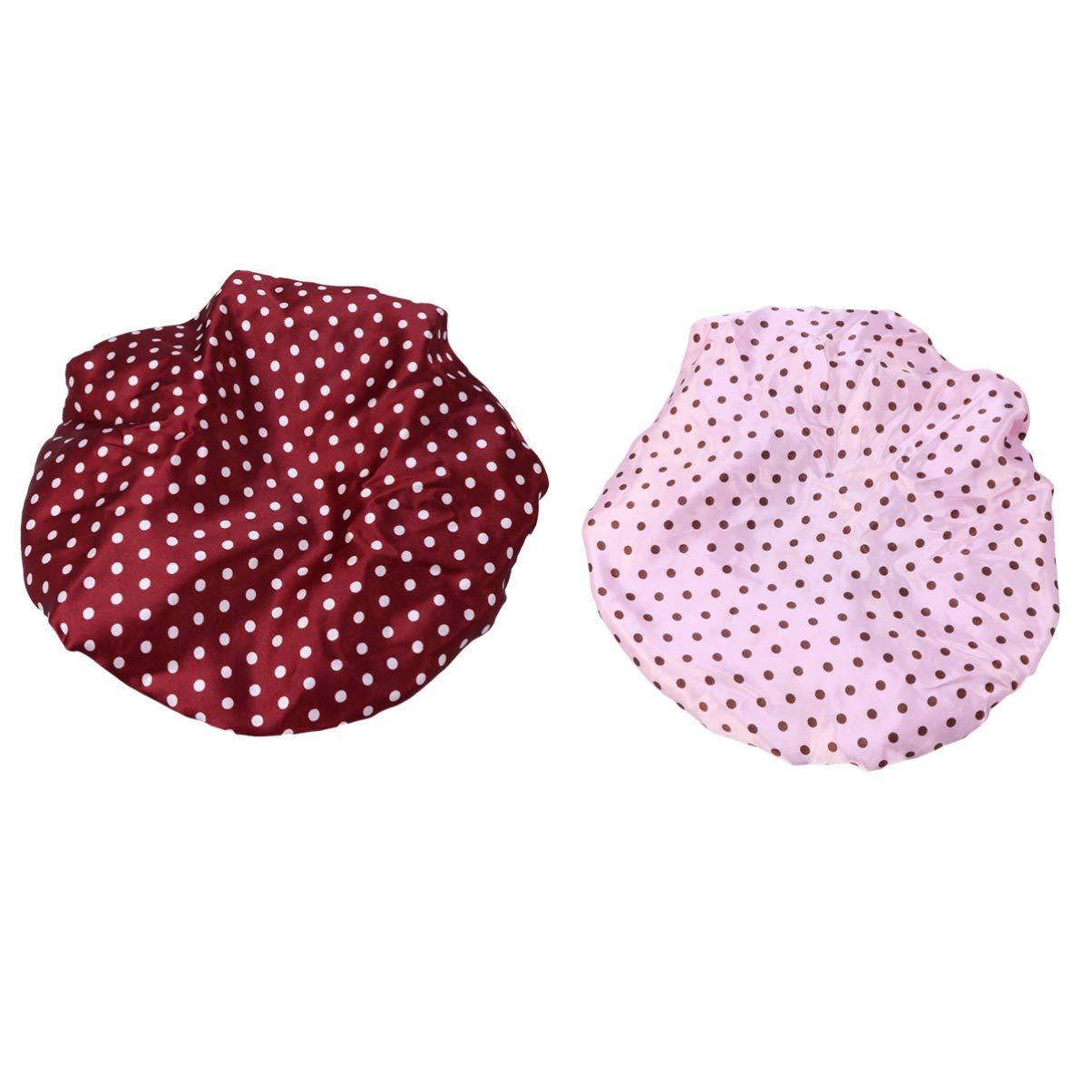 SUPVOX 2pcs Shower Caps Dot Pattern Elastic Waterproof Reusable Bathing Salon Hair Cap Heart Grass Pattern for Girl Woman