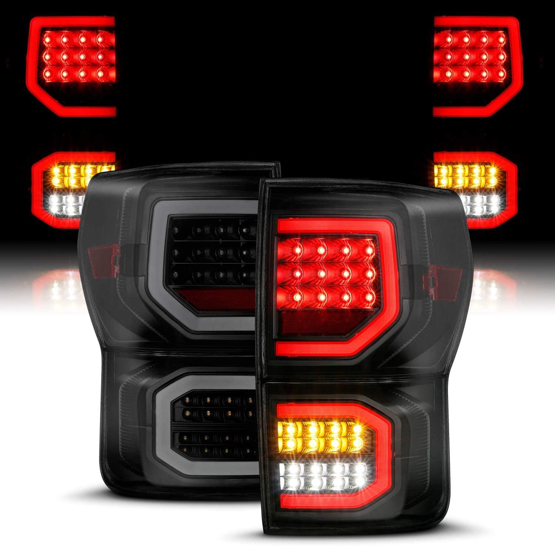 AmeriLite for 2007-2013 Toyota Tundra Pickup Dark Black [Full LED] Dual C-Type Tube Replacement Taillights Brake Lamp Pair - Passenger and Driver Side