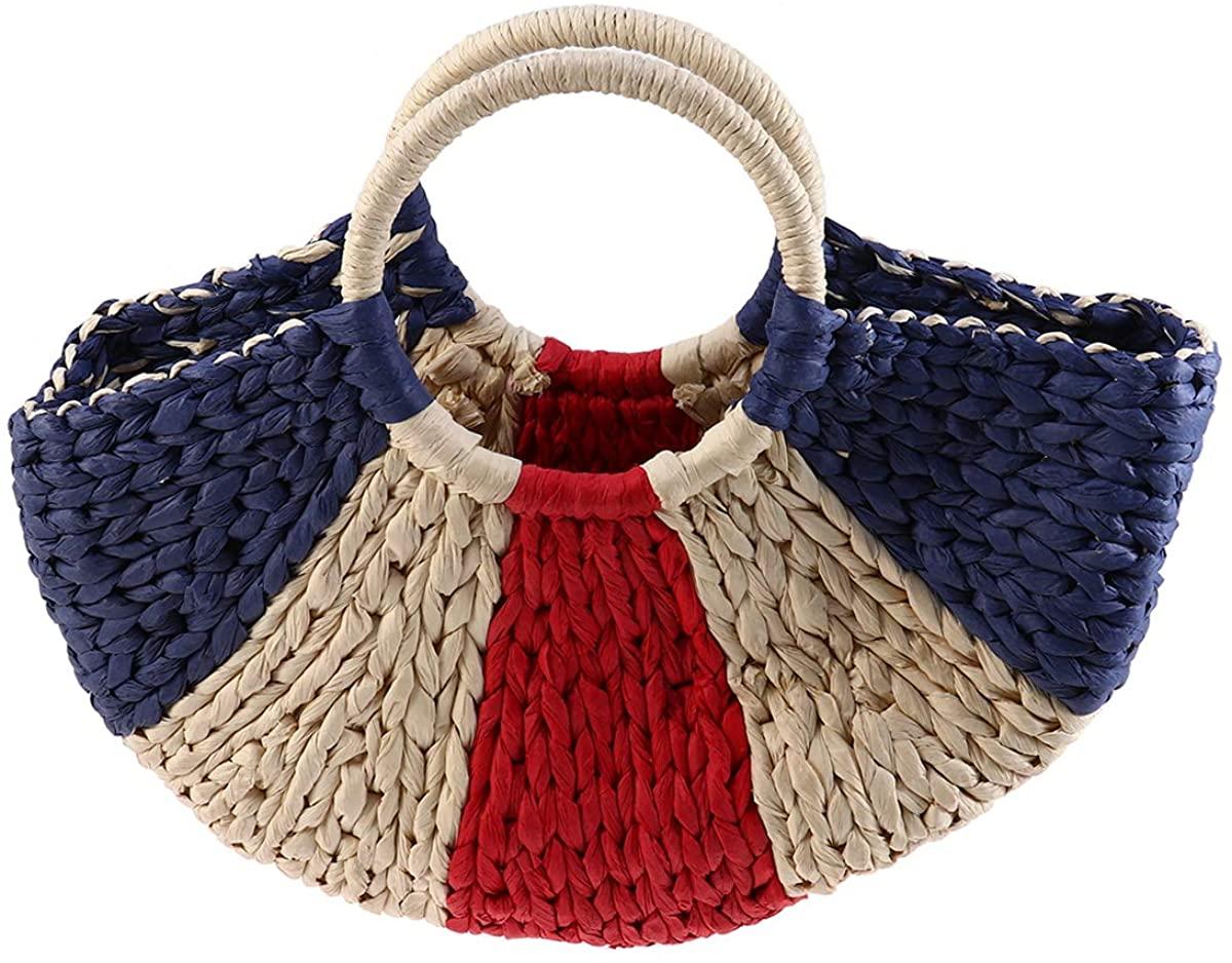 FENICAL Top Hand Bag Woven Handmade Handbag Summer Beach Bag Straw Tote for Women Ladies