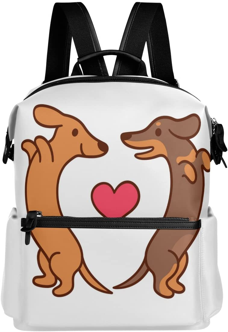 ALAZA Dachshund Love Heart Casual Backpack Lightweight Travel Daypack Bag