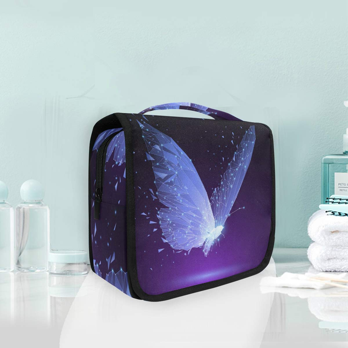 Toiletry Bag Hanging Travel Cosmetic Bag Large Capacity Portable Makeup Bag Purple Butterfly Organizer Pouch for Women Girls