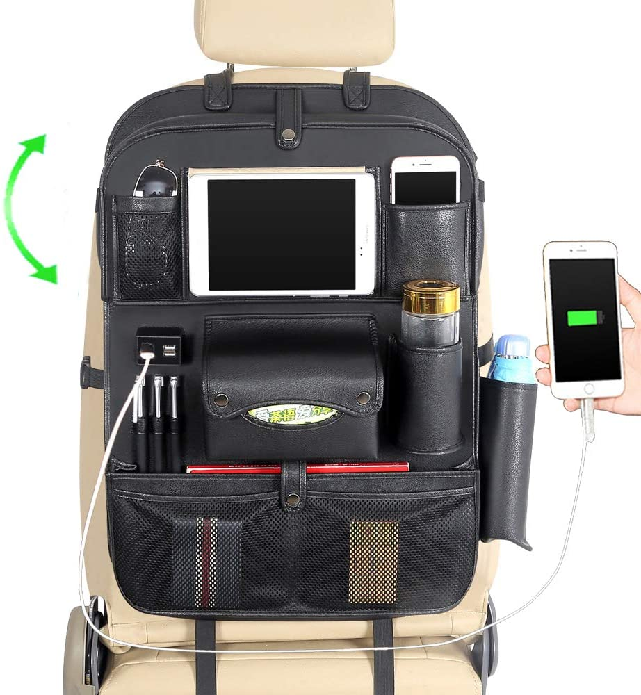 JY Sdyl Car Back Seat Organizer with Tablet Holder+4 USB Charging Ports,Multifunctional PU Leather Car Backseat Pocket Storage Organizer with Foldable Table Tray,Car Seat Protectors Kick Mats (Black)