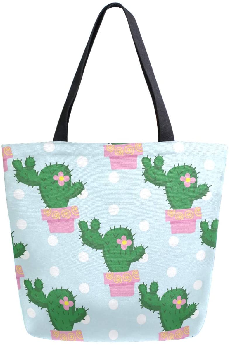 ZzWwR Fresh Cute Cactus Floral Pattern Extra Large Canvas Market Beach Travel Reusable Grocery Shopping Tote Bag Portable Storage HandBags