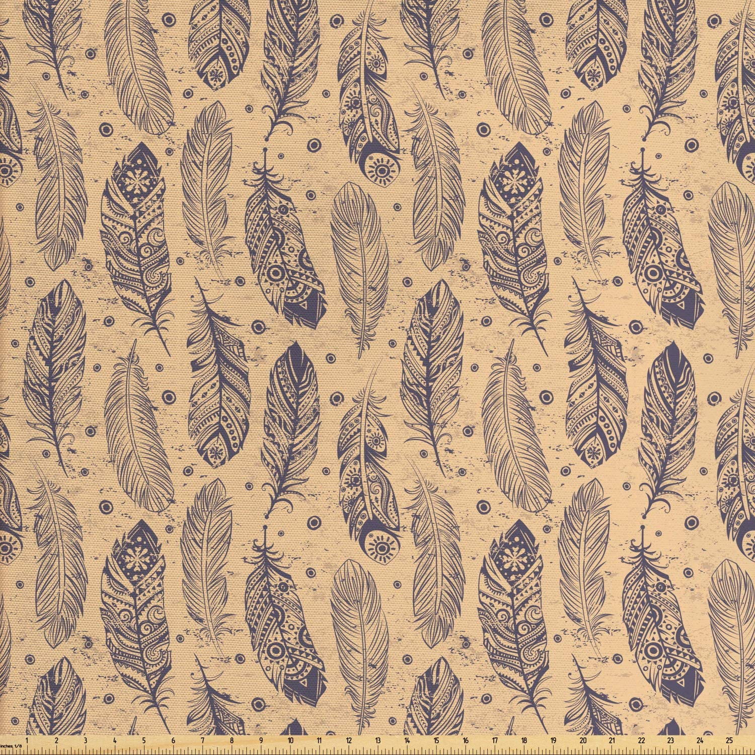 Lunarable Abstract Hippie Fabric by The Yard, Vintage Ethnic Feathers in Tribal Motifs Rhythmic Pattern, Decorative Fabric for Upholstery and Home Accents, Peach Dark Purple Grey