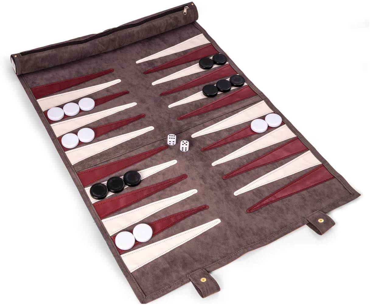 Bey-Berk Grey Suede Roll-Up Backgammon Travel Set w/Playing Pieces