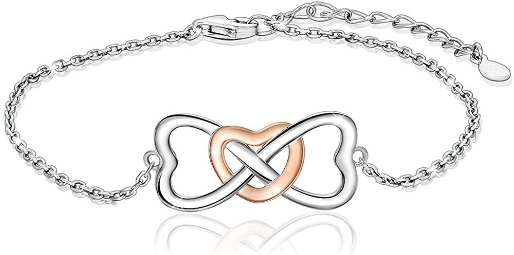 S925 Silver Infinity Heart Bracelet - Forever Love Adjustable Bracelet Best Jewelry Gift for Women Girls Wife Daughter Birthday Anniversary Christmas