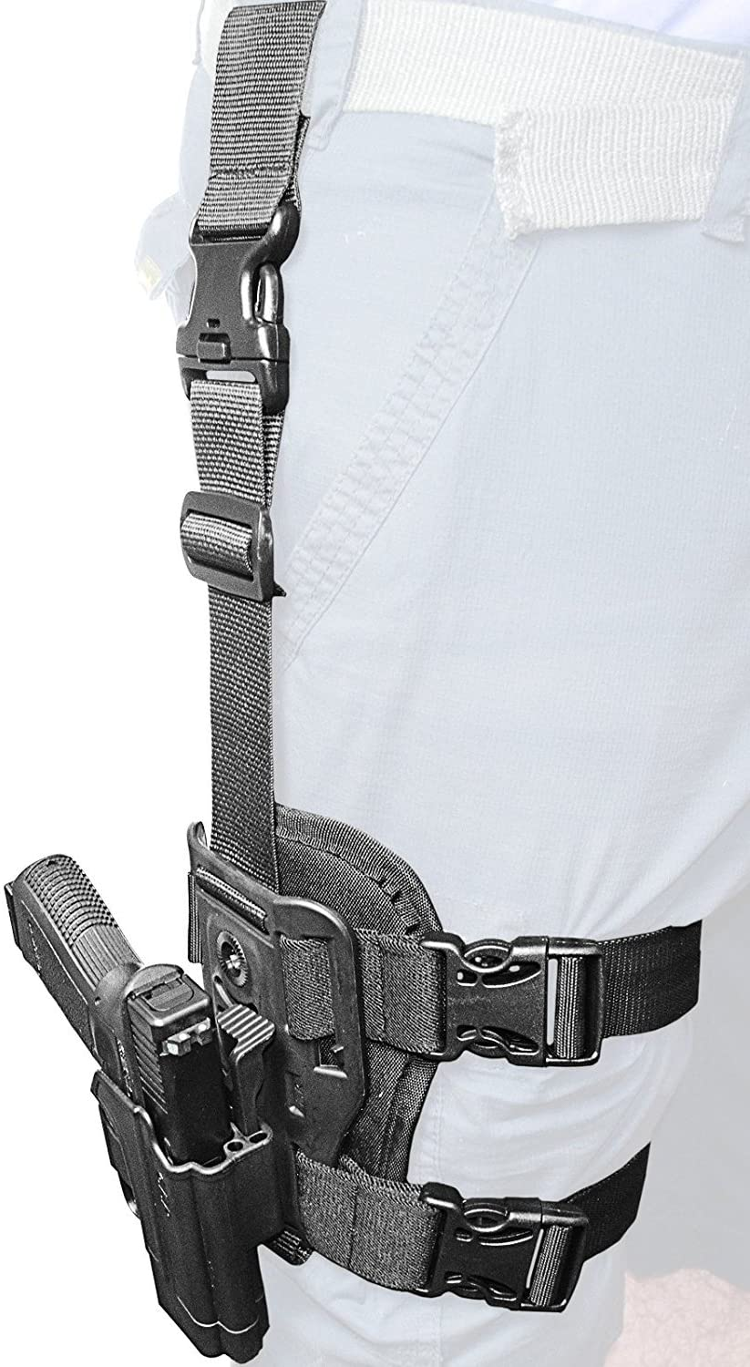 Orpaz Dropleg Thigh rig Platform + Active Retention ROTO Rotation Tactical Paddle Holster with Tention ajustment for Glock 17/19/22/23/25/26/27/31/32/34/35