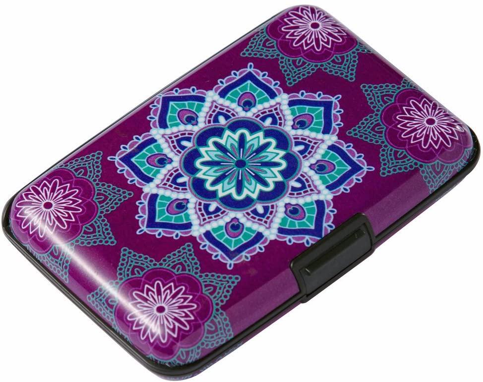 Elfish Mini RFID Aluminum Wallet Credit Cards Holder Business Card Case Metal ID Case for Men Women (Purple flower)