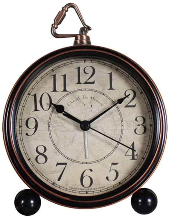 IMIKEYA Vintage Alarm Clock Analog Table Desk Clock Bedside Clock Travel Alarm Clock Home Decoration (Without Battery)