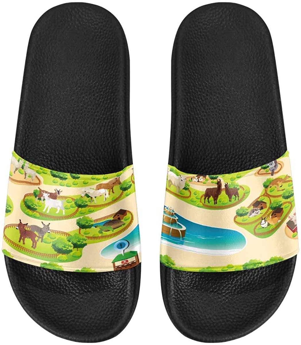 InterestPrint Women's Casual and Lightweight Slipper Sandals for Outside Peonies Flower and Butterflies
