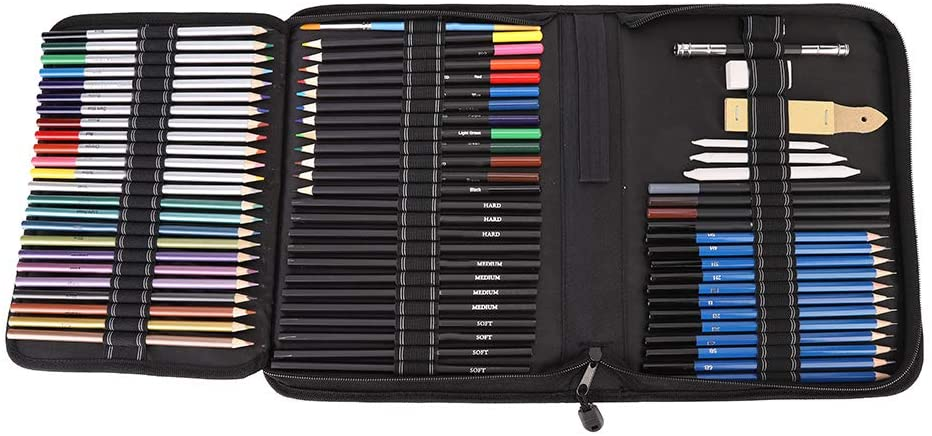 Art Charcoal Pencil Eraser Set Sketch Drawing Set, Drawing Design Tools, with Carrying Bag for Painter Beginner