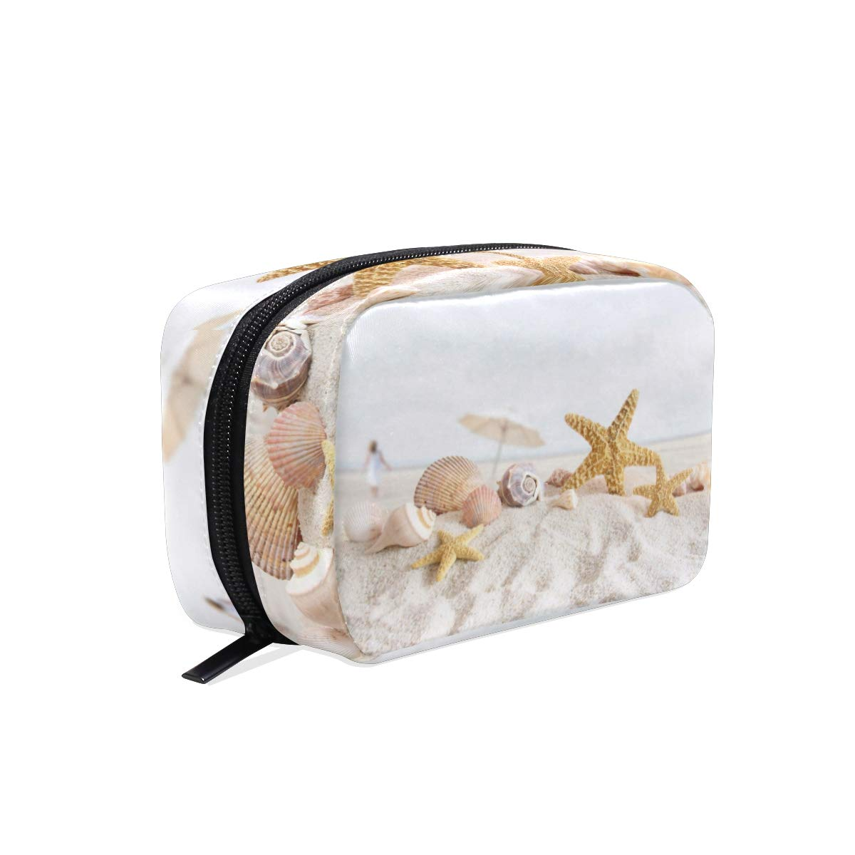 Makeup Bag Portable Travel Cosmetic Starfish And Seashells Train Case Toiletry Bag Organizer Accessories Case Tools Case for Beauty Women