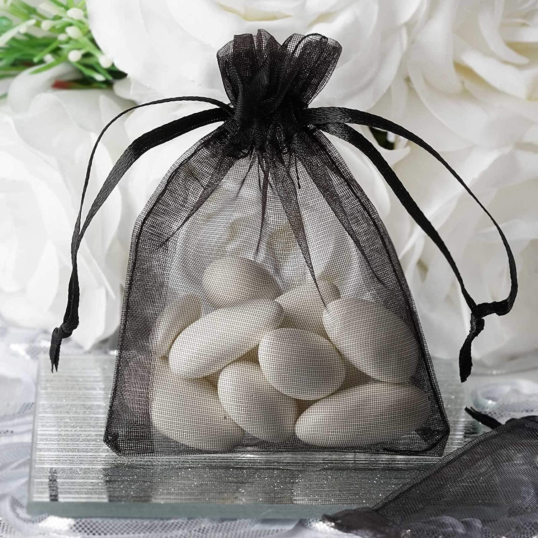 Efavormart 10PCS Black Organza Gift Bag Drawstring Pouch Wedding Favors Bridal Shower Treat Jewelry Bags - 3x4