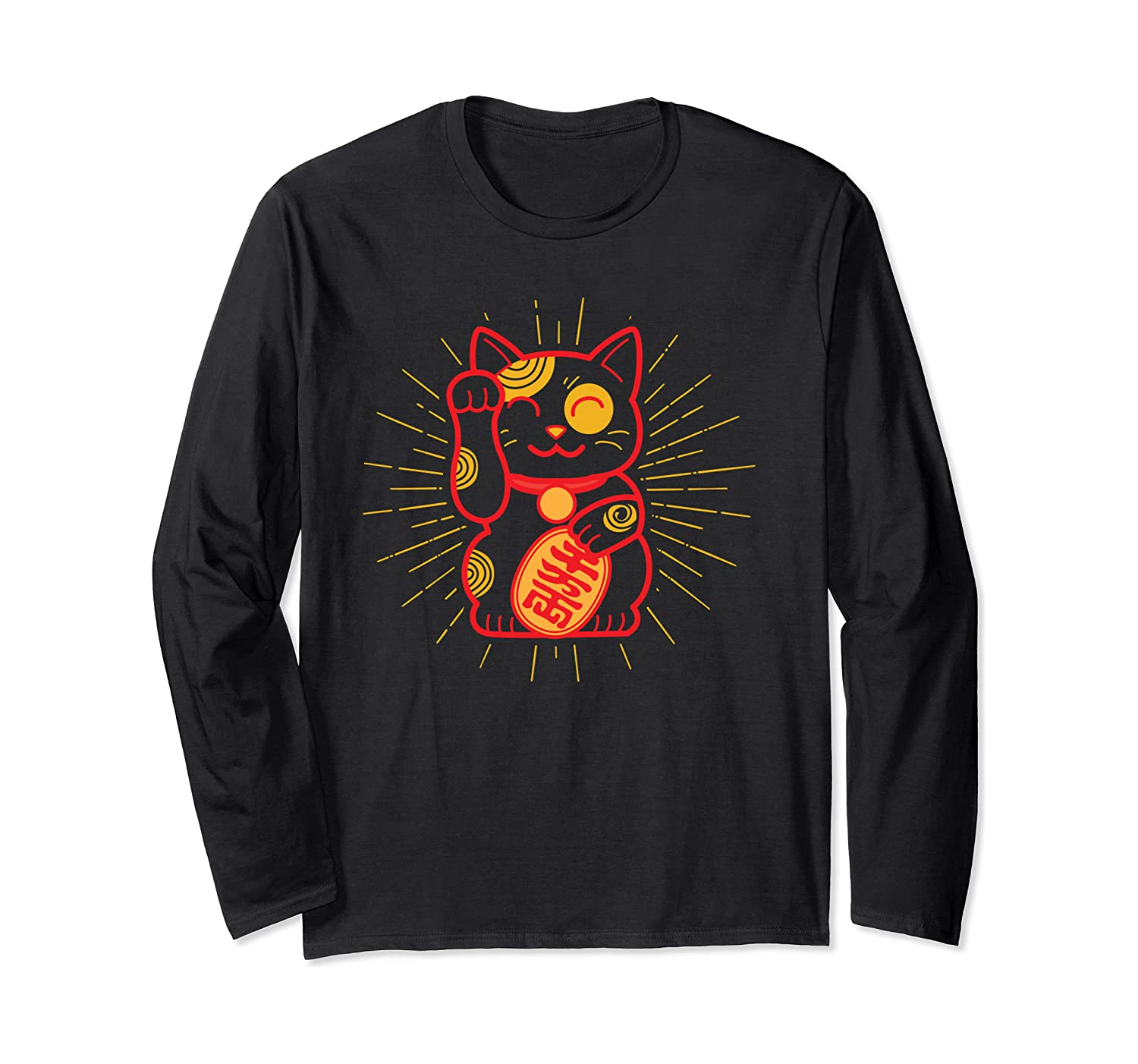 japan Inspired Good Luck Cat Long Sleeve T-Shirt