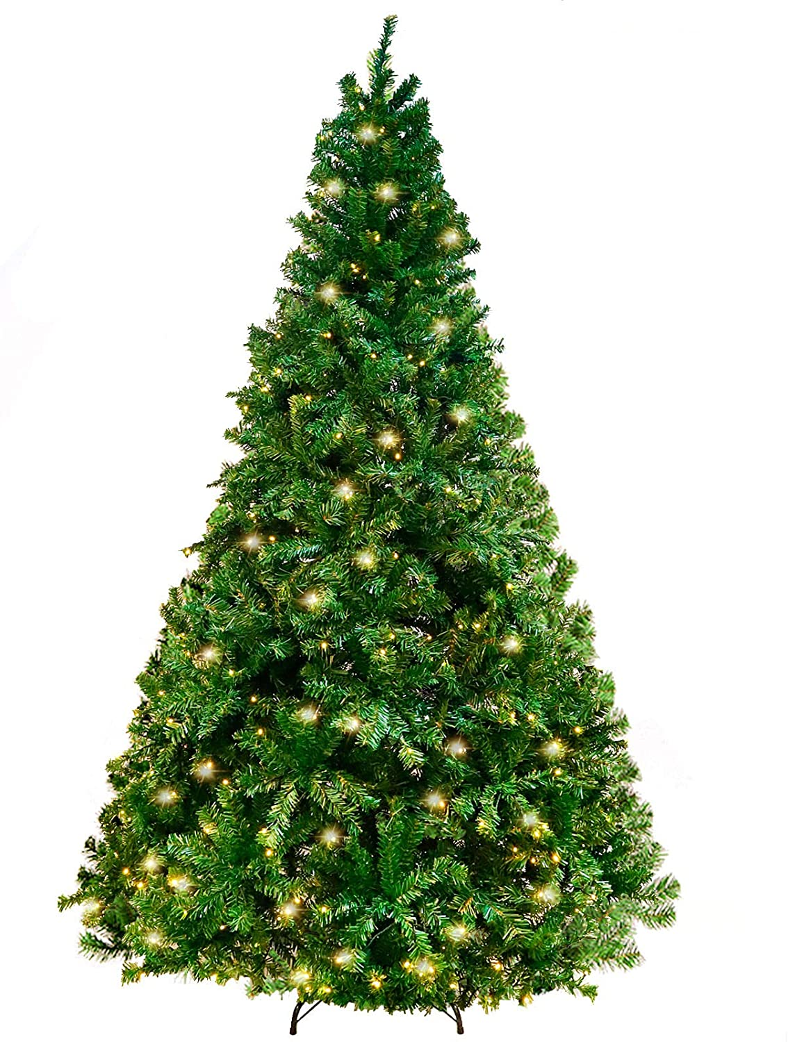 Isbasa 7.5 Feet Artificial Christmas Tree 1800 Tips with 600 Lights for Home Party Holiday Decoration