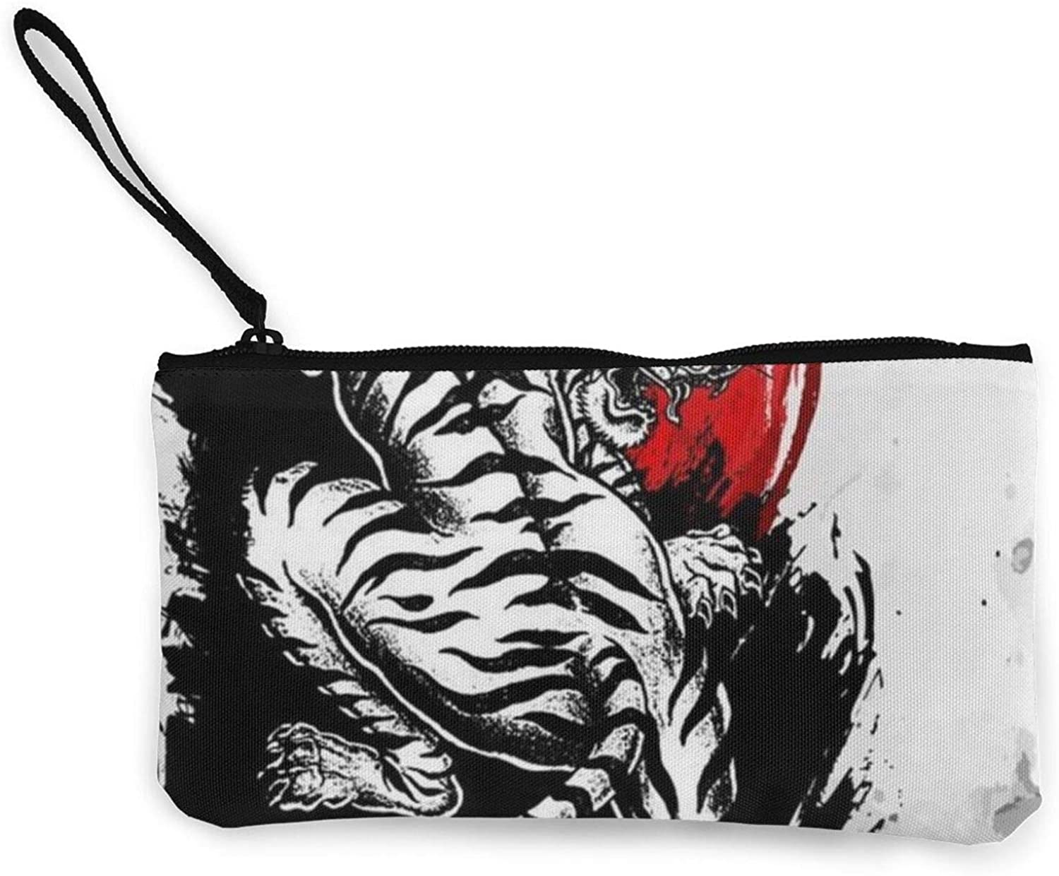 Women Girls Canvas Change Coin Purse with Wrist Strap Small Make Up Bag