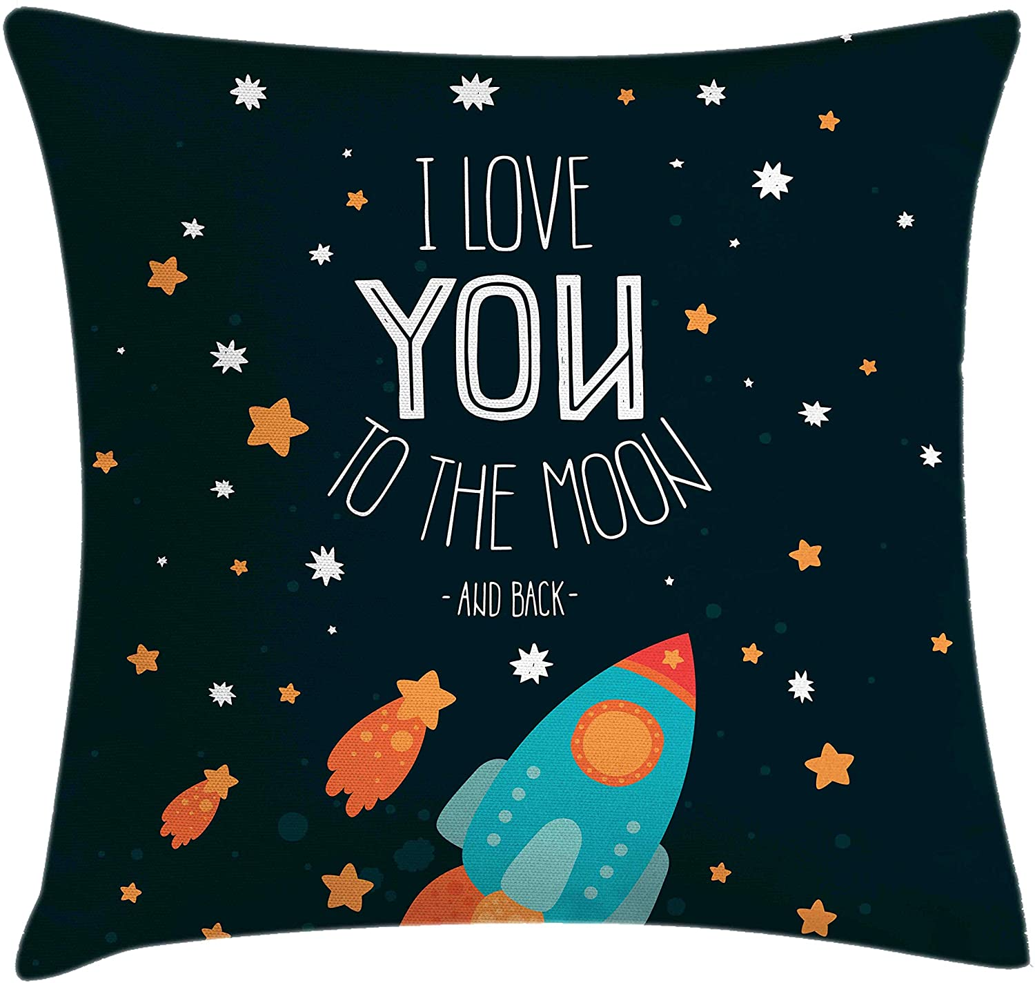 Ambesonne I Love You Throw Pillow Cushion Cover, Rocket on The Road of Space Adventurist Cosmic Couples Happy Birthday Theme, Decorative Square Accent Pillow Case, 18