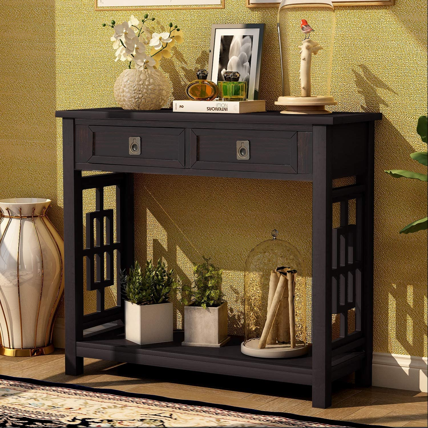 P PURLOVE Console Table Sofa Table with 2 Drawers and Bottom Shelf, Accent Console Table for Living Room, Easy Assemble Sideboard Table for Hallway,Entryway,Espresso