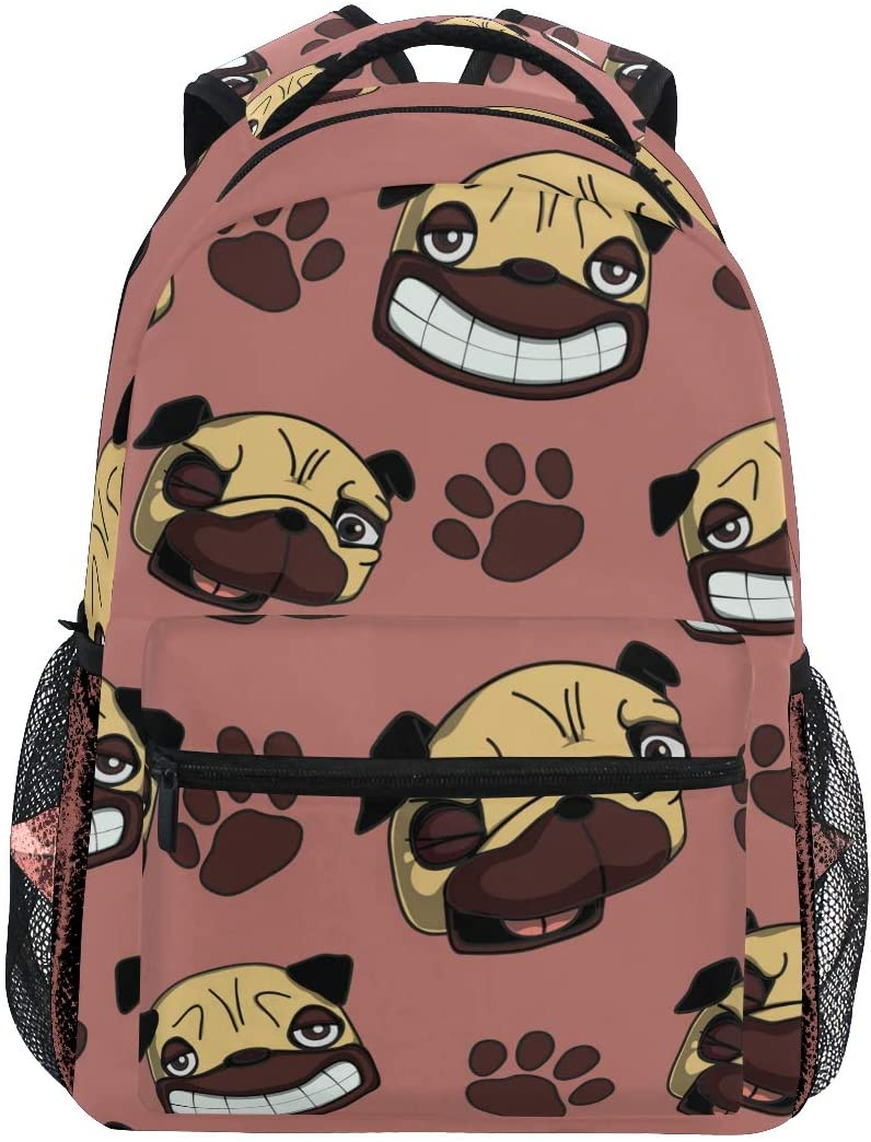 ALAZA Lightweight Backpack for School,Pug Dogs School Bookbags Laptop Backpack Casual Travel for Youth Boys and Girls Back to School