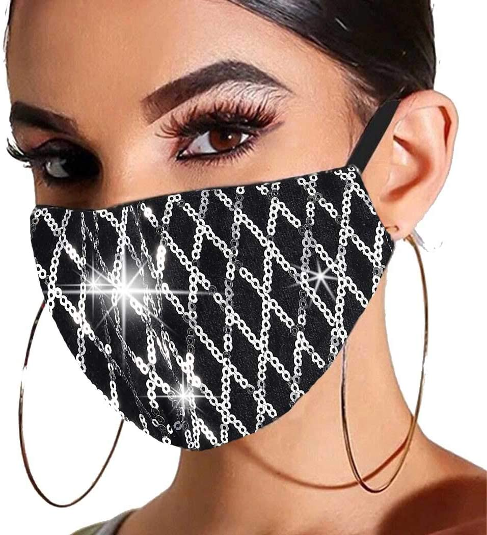 Gortin Sequin Glitter Mouth Cover Masquerade Sparkle Mouth Shield Washable Reusable Mouth Covering with Filter Pocket Nightclub Ball Party Venetian Mardi Decoration for Women and Girls(Silver)