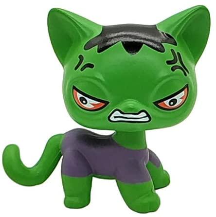Custom Made OOAK Mini Pet Toys Green/Black Short Hair Cat Grey Shirt Hero Hand Painted Figures Collection Boys Girls Kids Gift Set