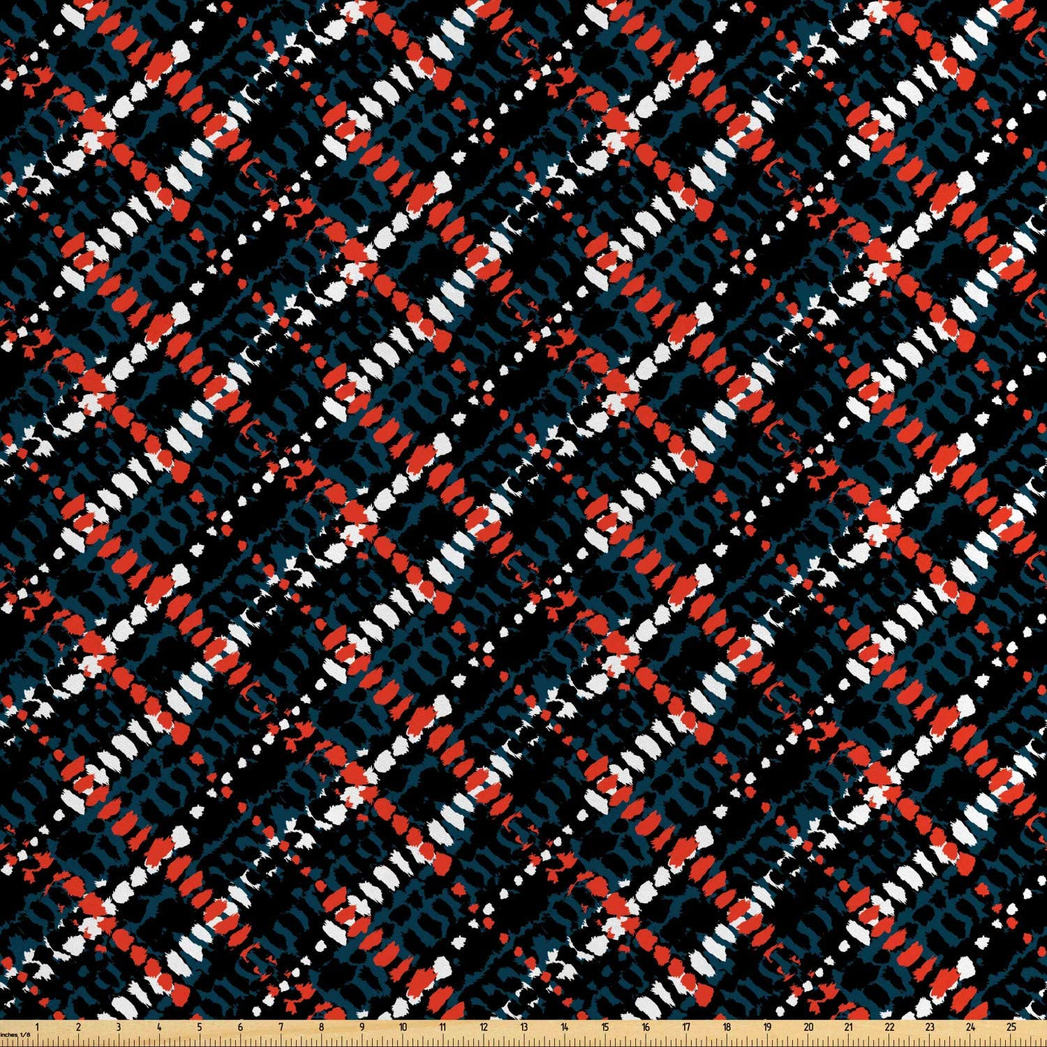 Ambesonne African Fabric by The Yard, Grunge Pattern Plaid Style with Bohemian Influences Native and Hipster, Decorative Satin Fabric for Home Textiles and Crafts, Multicolor