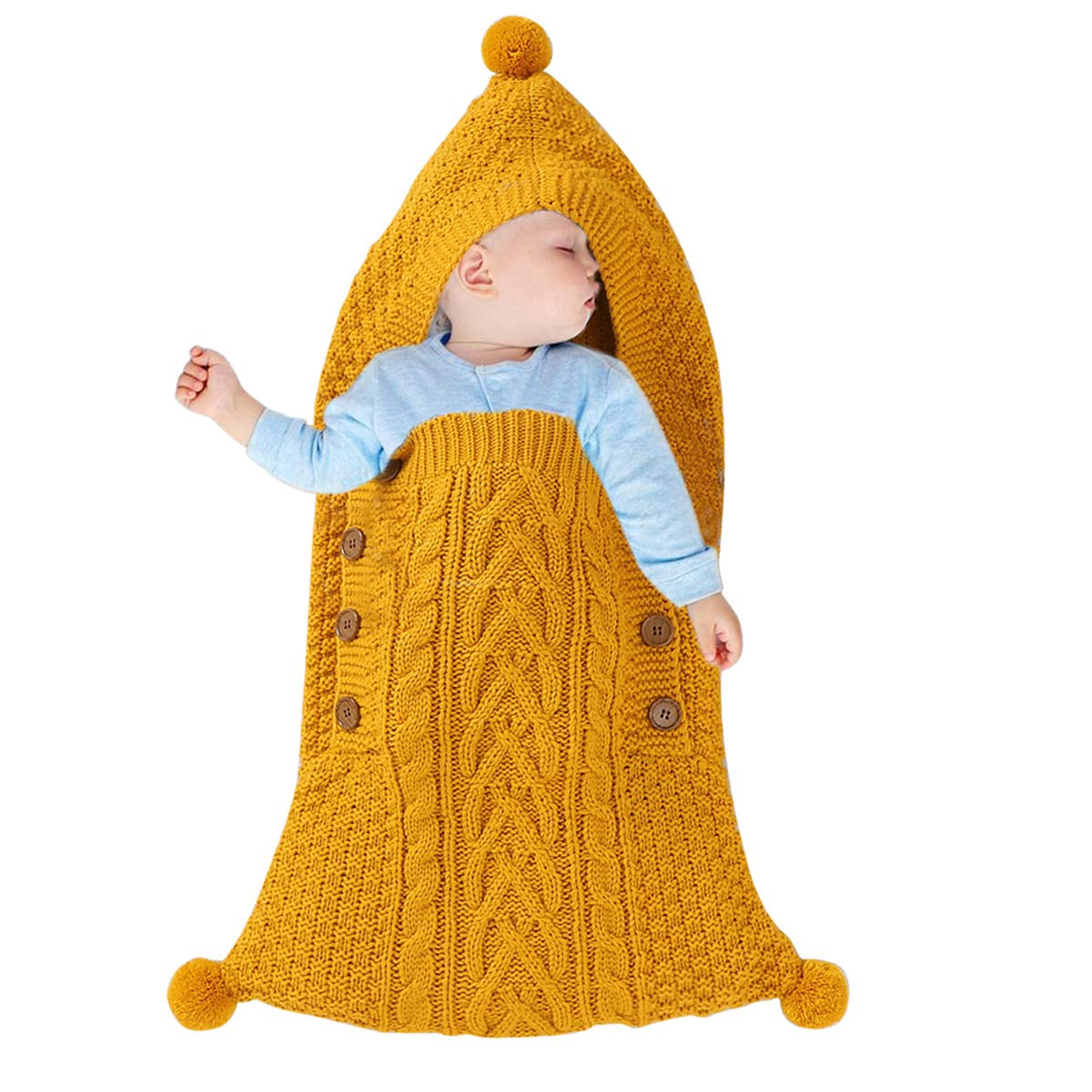 Oenbopo Newborn Baby Wrap Swaddle Blanket, Kids Toddler Knitted Sleeping Bag Stroller Wrap for 0-6 Months Baby (Yellow; 29.5x14.2in)