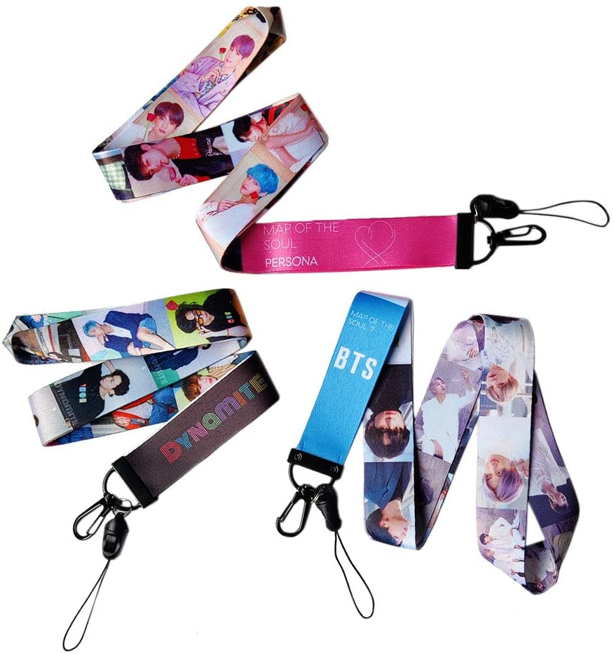 BTS Lanyards for Id Badges 3 Pcs Kpop Merchandise Map of The Soul Persona Dynamite Keychain Necklace Map of The Soul 7 Holder Strap Lanyard Gift for Army Girls