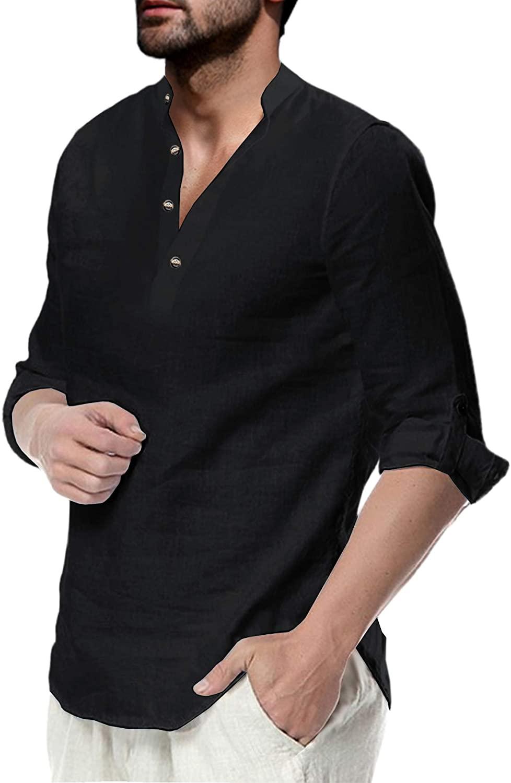 Men's Long Sleeve Henley Linen Shirt Band Collar Regular Fit Casual Button Up Beach Shirt Tops