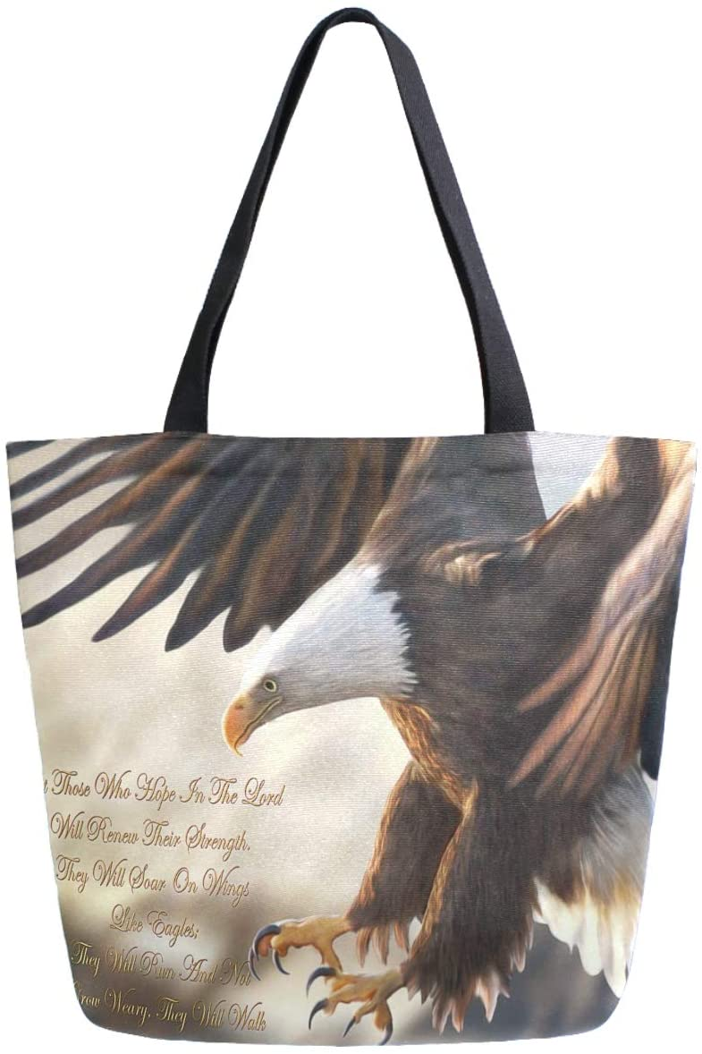 ZzWwR Flying Bald Eagle Print Extra Large Canvas Shoulder Tote Top Storage Handle Bag for Gym Beach Weekender Travel Shopping
