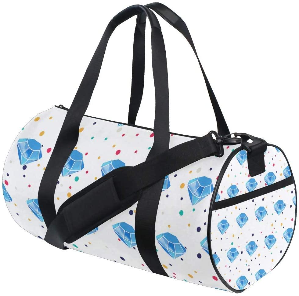 Personalized Watercolor Diamond Gym Duffel Bag- Training Duffle Bag DKRetro Round Travel Sport Bags for Men Women