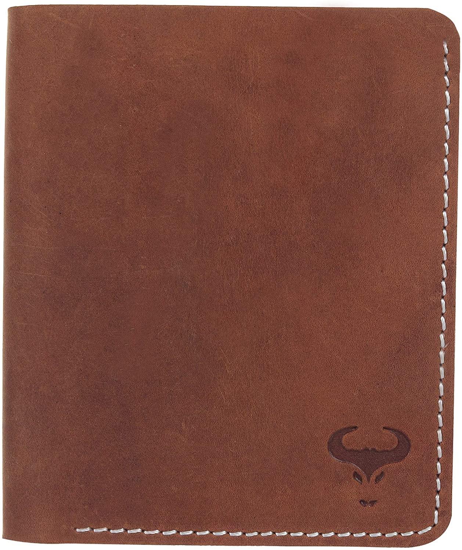Men's Genuine Leather Bifold Wallet - Vintage Slim Vertical Design - Top Grain Leather Purse - RFID Blocking