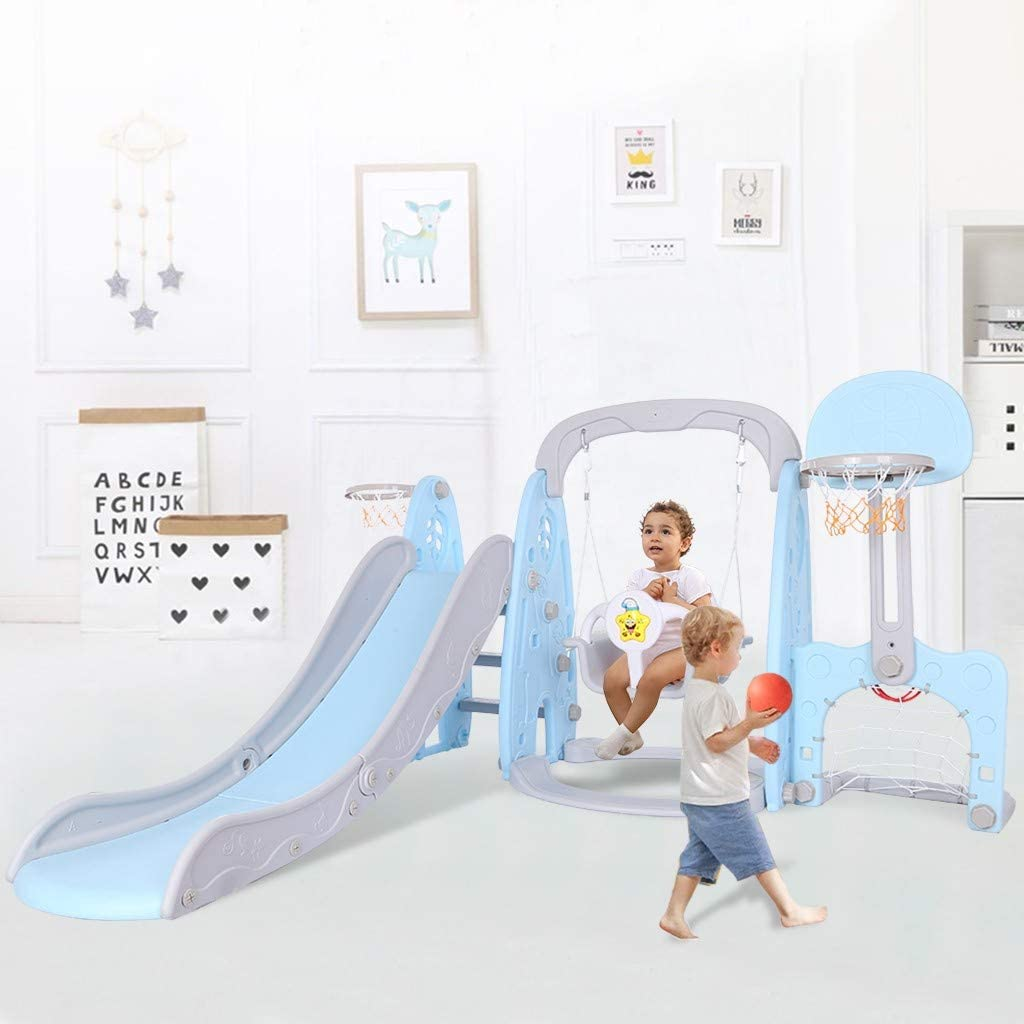 Kids Slide, Toddler Slide and Swing Set 5 in 1 Kids Play Climber Slide Playset with Basketball Hoop Extra Long Slide for Indoor Outdoor Backyard, Ages 2-4 3-5 Boys Girls Playhouse, Ship from USA