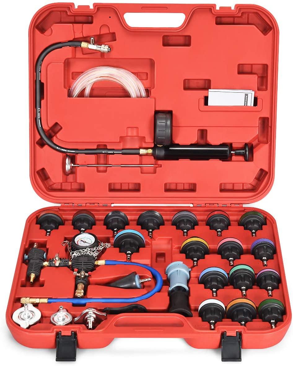 Goplus 28-Piece Universal Radiator Pressure Tester, Vacuum Type Cooling System Tool Kit w/Carrying Case (Red Case)