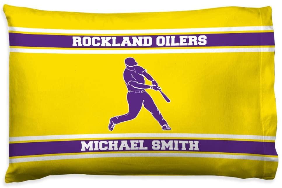 ChalkTalkSPORTS Personalized Baseball Pillowcase   Batter with Custom Team & Name   Yellow/Purple
