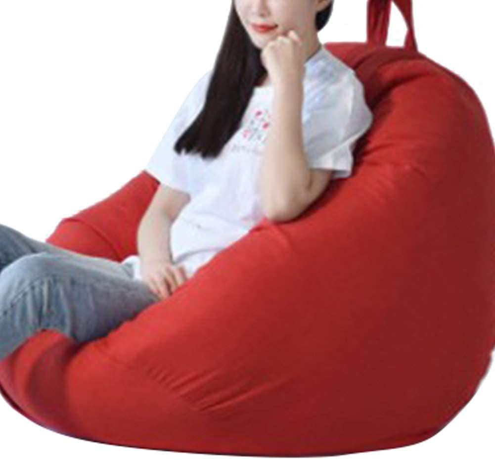 Bean Bag for Adults and Kids Chair Storage, Bean Bag Chair Cover Teens Adults Lounger Sack (Orange Red, 70cm80cm)