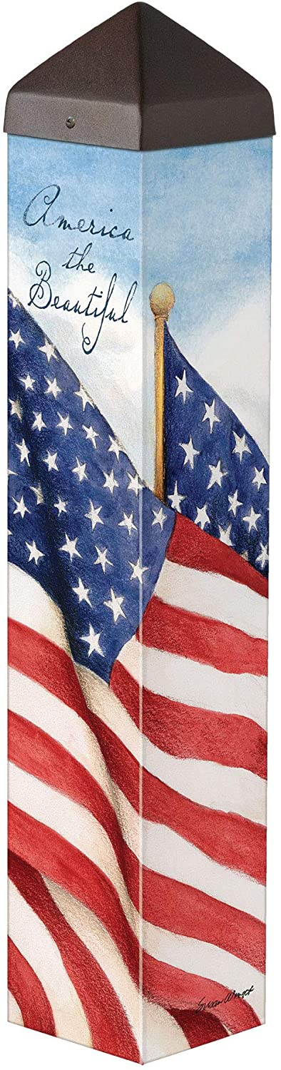 Studio M America The Beautiful Art Pole Outdoor Decorative Garden Post, Made in USA, 20 Inches Tall