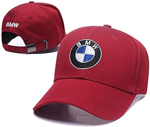 JS Auto Embroidered Logo Solid Color Adjustable Baseball Caps for Men and Women Travel Cap Racing Motor Hat (fit BMW red)