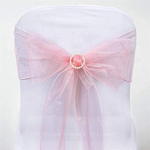 Efavormart 25pc x Wholesale Sheer Organza Chair Sashes Tie Bows for Wedding Events Decor Chair Bow Sash Party Decor - Rose Quartz