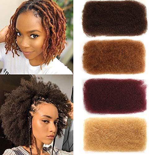 FASHION IDOL Afro Kinkys Bulk Human Hair 3 Packs 12 Inches Medium Brown Kinky Bulk Afro Hair for Dreads Afro Bulk Hair for Locs Hair Extensions