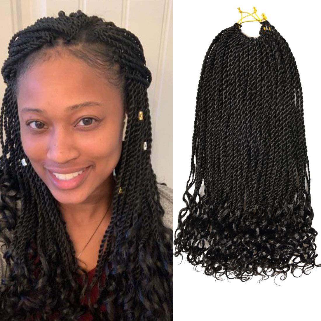 Senegalese Twist Hair Crochet Braids Curly Wave 18 Inch 6 Packs 30 Strands/Pack Braiding Hair Crochet Curly Braid Hair Extension(1B)